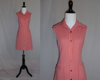 70s Check Dress - Red White Tablecloth Print - Sleeveless Picnic Dress - Vintage 1970s - S M