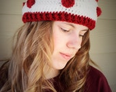Crochet Valentines heart headband headwrap  - Adult size red