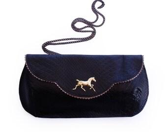Horse evening bag, black leather purse, crosbody horse purse, women's clutch wallet