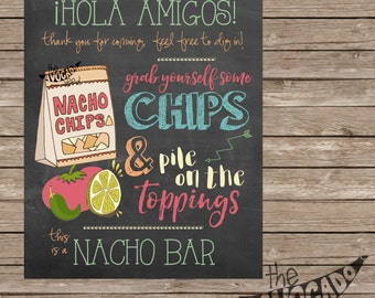 Chalkboard Nacho Bar Sign - DIY Printing - INSTANT DOWNLOAD - 2 Sizes