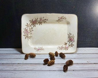 Ironstone Platter with Pink and Brown