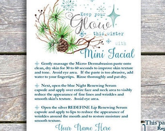 Mini Facial -  Christmas themed- Keep your glow - Printable - DIGITAL FILE