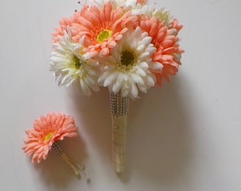 Bridal Bouquet Bling Gerbera Daisy With Wedding Floral Package