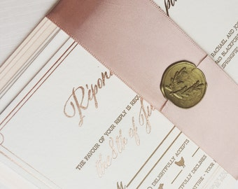 Rose Gold Foil and Letterpress Invitation - SAMPLE