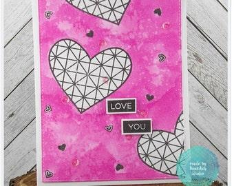 Geometric Love Hearts Hot Pink Watercolor Handmade Greeting Card - Love you