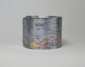 Key West Florida Map Cuff Bracelet Unique Gift for Men or Women