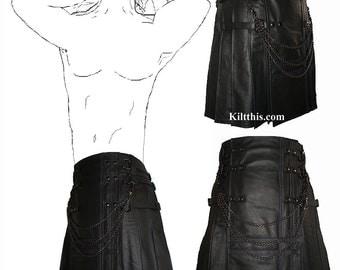 Interchangeable Black Leather Utility Kilt Purple Stitch Double Cross Apron Design Custom Gothic Adjustable Inside Pockets