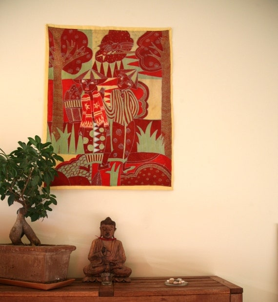 Vintage Indonesian batik hand painted fabric wall hanging