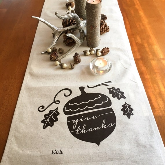 Thanksgiving Table Runner Autumn Table Runner Fall Table Runner Give Thanks Cotton Canvas Table Runner Farmhouse Decor Autumn Decor Acorn