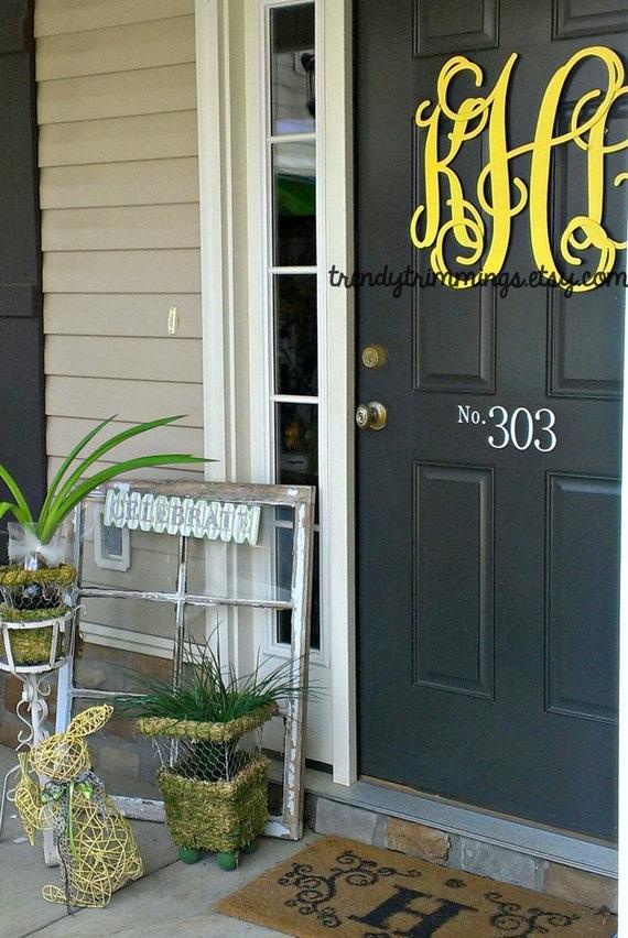 """3-D Wooden Monogram™- 20"""" Interlocking Script Initials- wooden letters for your front door, home, nursery, or wedding- unpainted"""