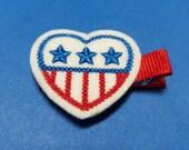 Stars & Stripes Patriotc Heart Felt Hair Clip - For Infant Toddler Girl