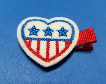 Stars & Stripes Patriotc Heart Felt Hair Clip - For Infant Toddler Girl