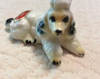 Miniature French Poodle Bone China Figurine White Japan 1960s
