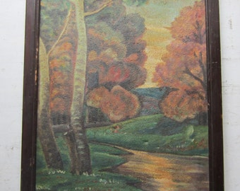 "Antique Landscape Oil Painting - Signed Anduchik 1933 16"" x 24"""
