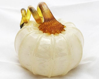 2016 Blown Glass Ivory  Pumpkin (Jack-be-little shape with Amber opalescent stem)