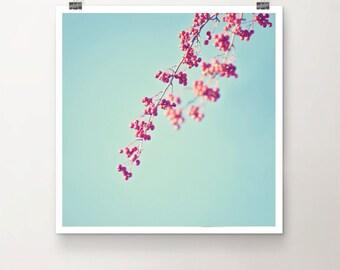 Ikebana for Beginners - Fine Art Print turquoise sky red berries tree vintage