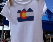 colorado flag baby onesie, baby bodysuit, size 6 month or 12 month, short sleeve