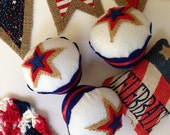 4th of July Americana Star Felt Cupcake - Home Decor, Pin Cushion, Parties, BBQ, Patriotic Events, Military Welcome Home, USA