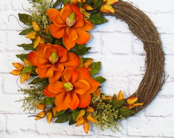 Magnolia Wreath, Fall Wreath, Autumn Wreath, Fall Decor, Fall Magnolia Wreath, Orange Wreath, Fall Grapevine