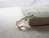 Sale - Light Pink Stone Charms - Genuine Rose Quartz Pendants - Sterling Silver Pendant - Natural Rose Quartz Jewelry - Wire Wrapped Pendant