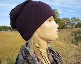 Purple Hat Cashmere Cotton Knit Wide Cuff Beanie Women's Slouchy Skull Cap by Vacationhouse A1576