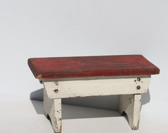 Vintage Wood Wooden Stool Bench Step Stool Red White Painted Rustic Distressed Chippy Painty Peely Farmhouse Stacking