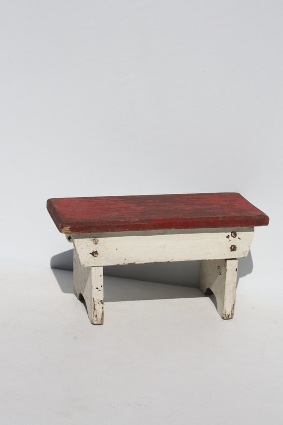 Vintage Wood Wooden Stool Bench Step Stool Red White Painted