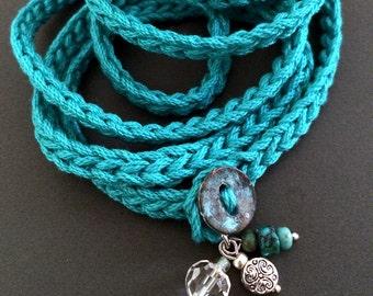 Crochet wrap bracelet / necklace, teal w/ charms, cuff bracelet, bohemian style, crochet jewelry, fiber jewelry, fall fashion, coffycrochet