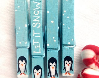 CHRISTMAS PENGUIN CLOTHESPINS let it snow blue hand painted magnetic pegs