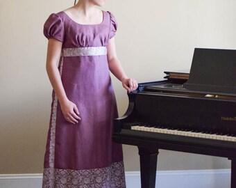 Regency Dress, Reenactment Costume, and Formal Ball Gown, Vintage Saree, Lavender Misses 6