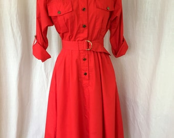 Vintage 1980's Shirt Dress / Jordache / Poly Cotton Blend / Size 5/6 / Bright red belted dress with pockets, pleated waist/ Trendy hipster