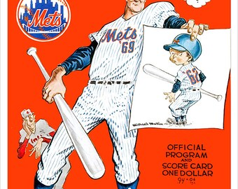 New York Mets programs and score card cover print for 69 World series - 62 Inaugural season - 1966 and 1968 seasons