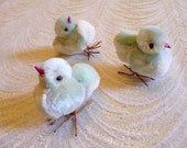 Vintage Chenille Easter Chicks Aqua White Spun Cotton Wire Feet Set of Three for Crafts, Decorations