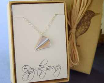 Paper Plane Necklace, Enjoy the Journey, Origami Plane Necklace, Airplane Necklace, Graduation Gift, Travel Necklace with Sentiment Card