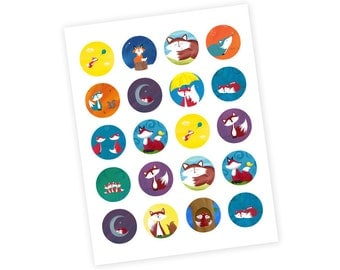 20 Fox Stickers - Fox Cupcake Toppers