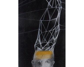 art original man  At Night portrait illustration figurative peoplewoman