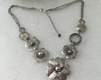 Floral Statement Necklace, Silver tone Flower Assemblage, Reclaimed Vintage Jewelry