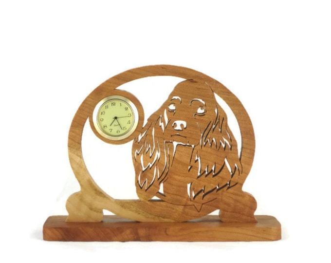 Cocker Spaniel Dog Desk Clock Handmade From Cherry Wood 1-7/16 Quartz Clock Insert