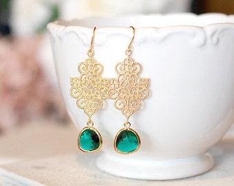 Emerald Green Earrings Gold Filigree Dangle Earrings Green Wedding Bridesmaid Earrings Bridal Earrings Gift for Wife Sister Mom Boho Chic