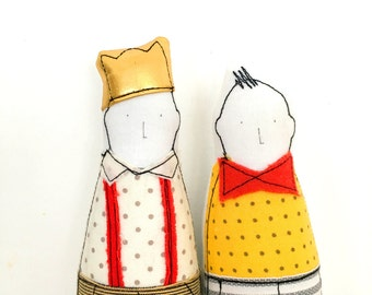 SMALL Children - Little twins Brothers in Red Yellow gold,Suitable for family portrait- Soft sculpture dolls - timohandmade fabric eco dolls