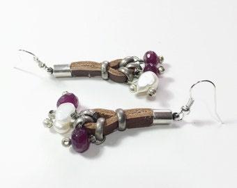 Dangle pearls earrings, Cluster ruby leather earrings, Gemstone earring, white  earring, Long earring, women dangle earring, Bouquet earring