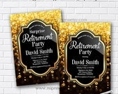 Retirement Invitations, Retirement party Invitation, Retirement Celebration, elegant Invite, glitter, gold and black - card 14