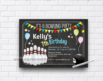Bowling Birthday Invitations any age for kids birthday invitation chalkboard design bowling invitation design fun party for boy - card 426