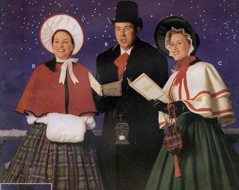 Simplicity 4851 Sewing Pattern for Misses', Men's and Teens' Christmas Carolers Costumes - Uncut - Size Xs, S, M, L, Xl