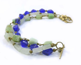 Gemstone Bracelet, Cobalt Blue, Pale Green Aventurine, Light Green Chrysoprase Gems With Antiqued Brass Accents One of a Kind Handmade 1025