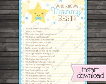 Twinkle Twinkle Little Star Baby Shower Who Knows Mommy's Best Game Printable - Blue Baby Shower - Boy Baby Shower Games- Instant Download