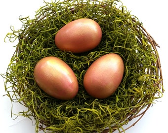 PINK GOLD Eggs Wooden Waldorf Easter Eggs