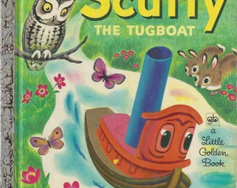 Scuffy The Tugboat and His Adventures Down the River, A Little Golden Book, Vintage Children's Book, C1955