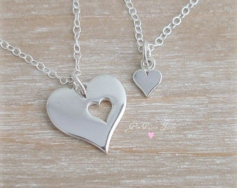 Sterling Silver Heart Necklace Set Mother Daughter Large/Small Heart - Heart Cut Out Necklace Mothers Day Gift Valentine Gift