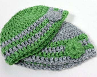 Crochet Baby Beanie Bundle 0-3 Months - Green and Gray